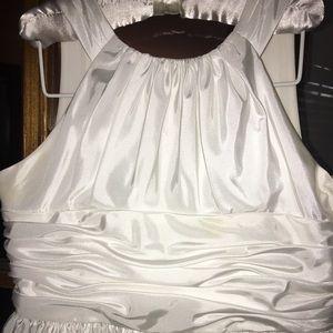 David's Bridal girls dress white satin